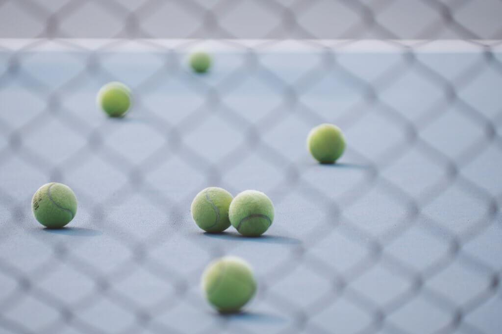 Tennis balls on a court