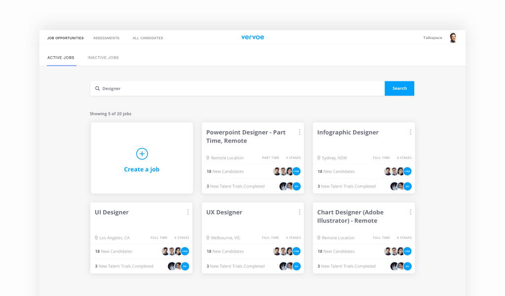 Easily search for jobs in your dashboard