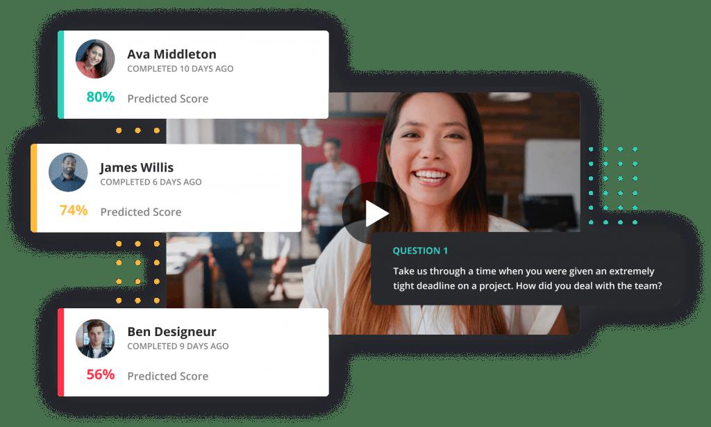 Screenshot of Vervoe one way video interview software.