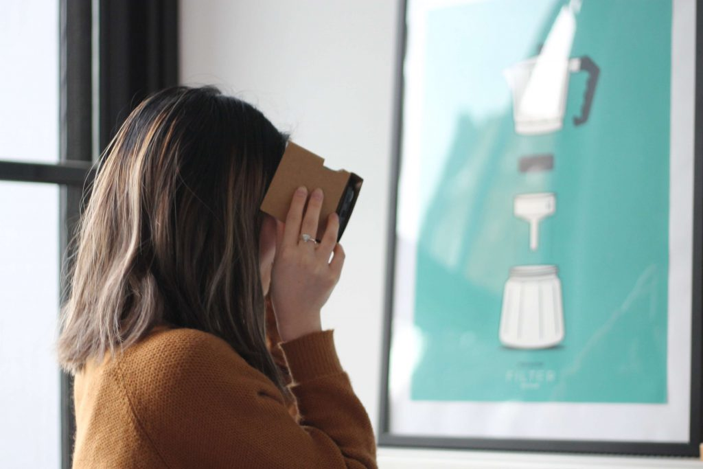 Woman with a virtual reality tool