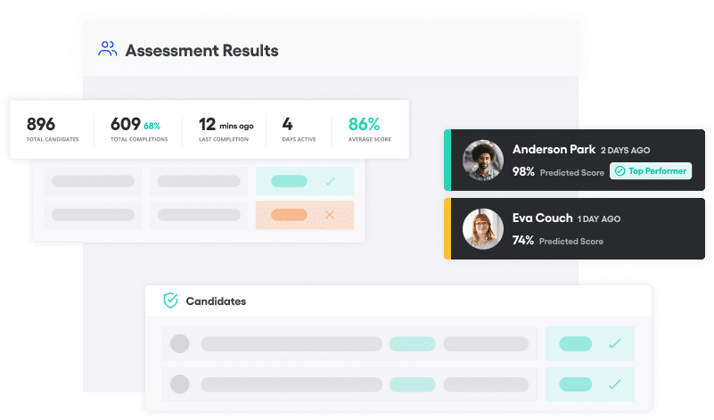 Vervoe's candidates assessment results product feature