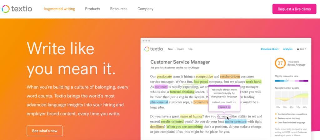 Textio blind hiring software