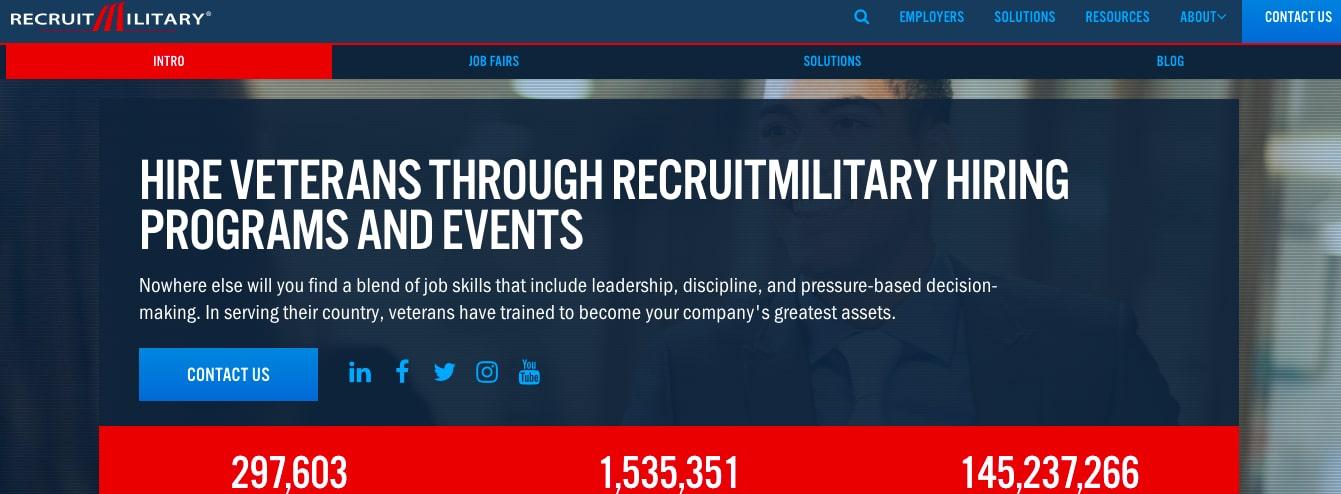 Recruitmilitary  job board for former service members
