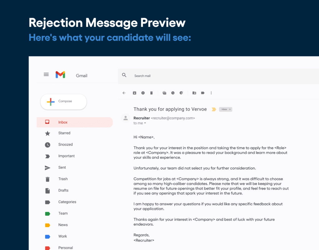 Email for candidates not on the shortlist
