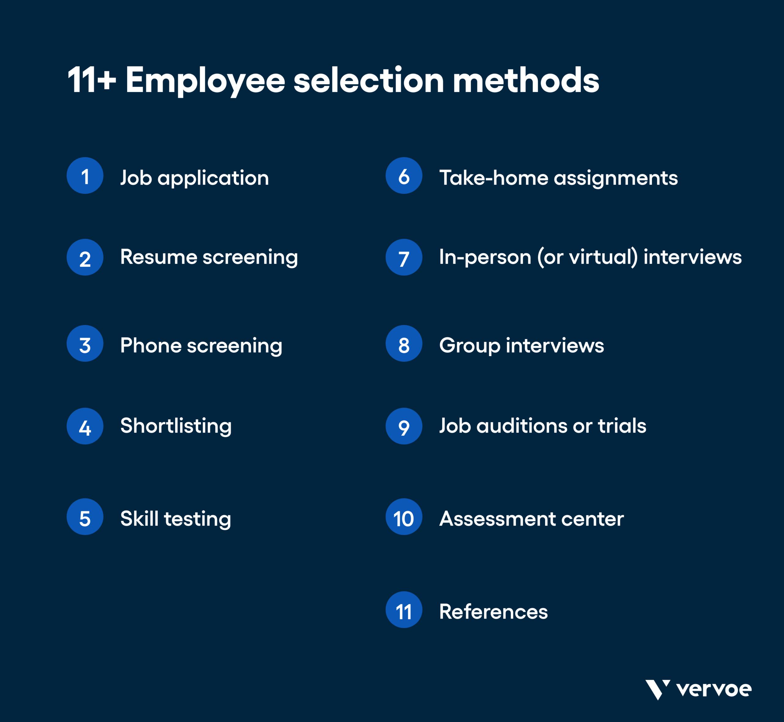11+ employee selection methods