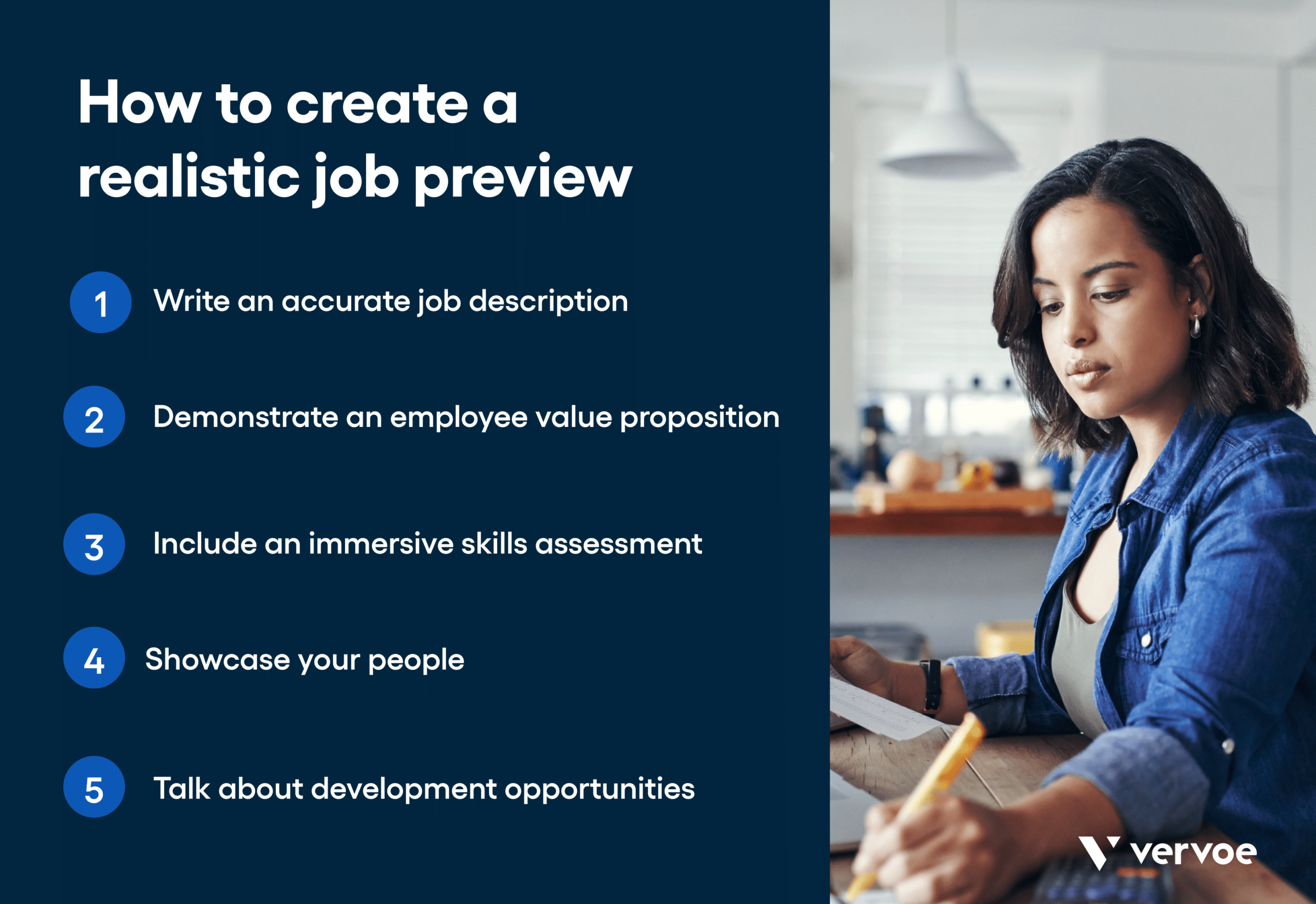 Infographic showing the 5 steps of creating a realistic job preview