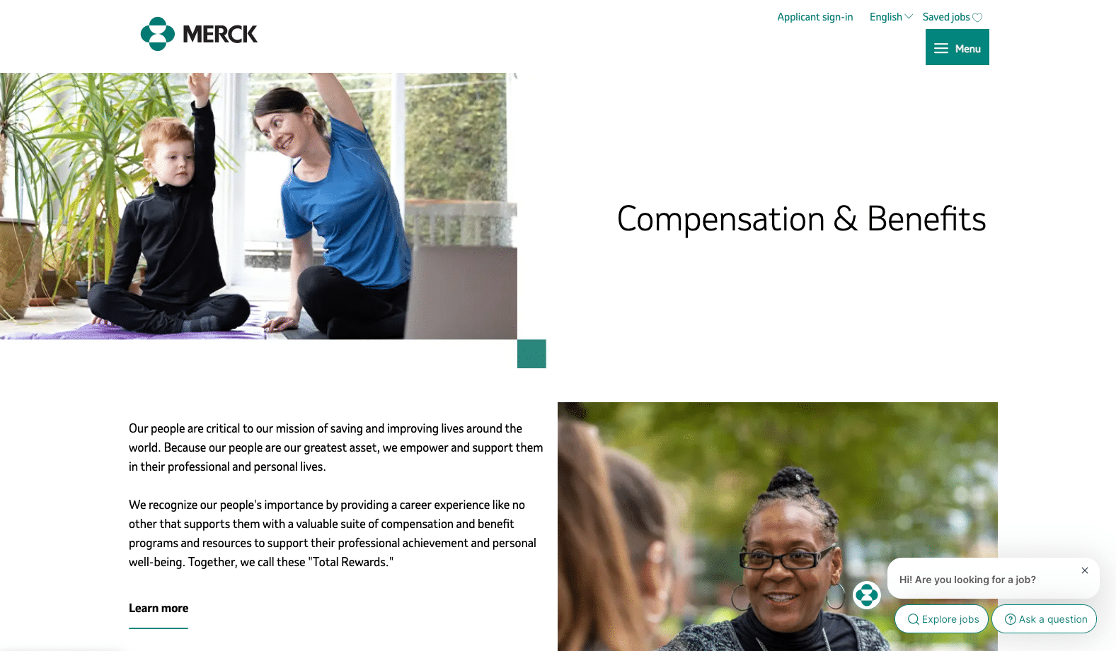 Screenshot of merck compensation and benefits page