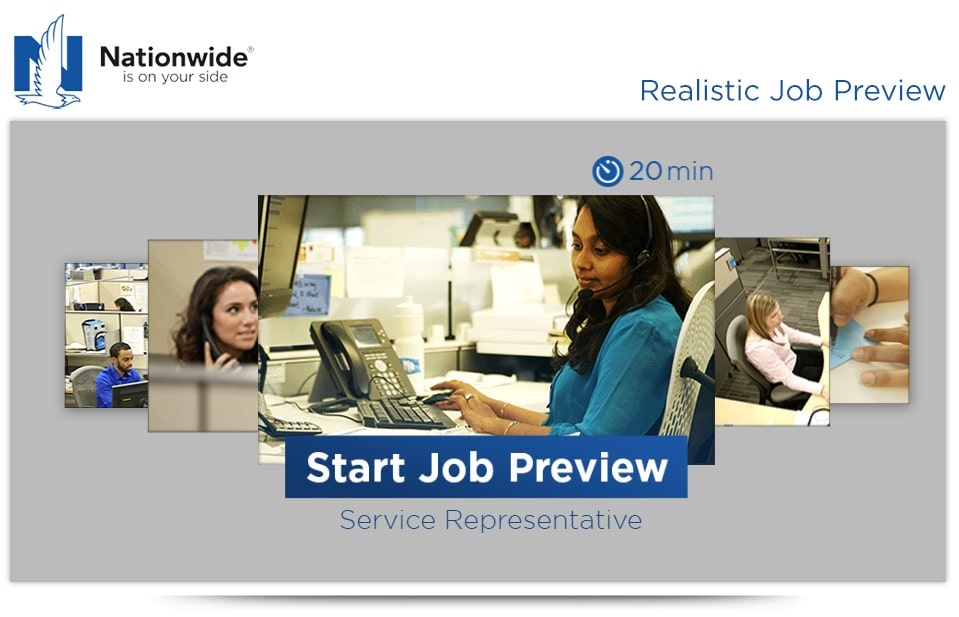 A screenshot of nationwide's realistic job preview