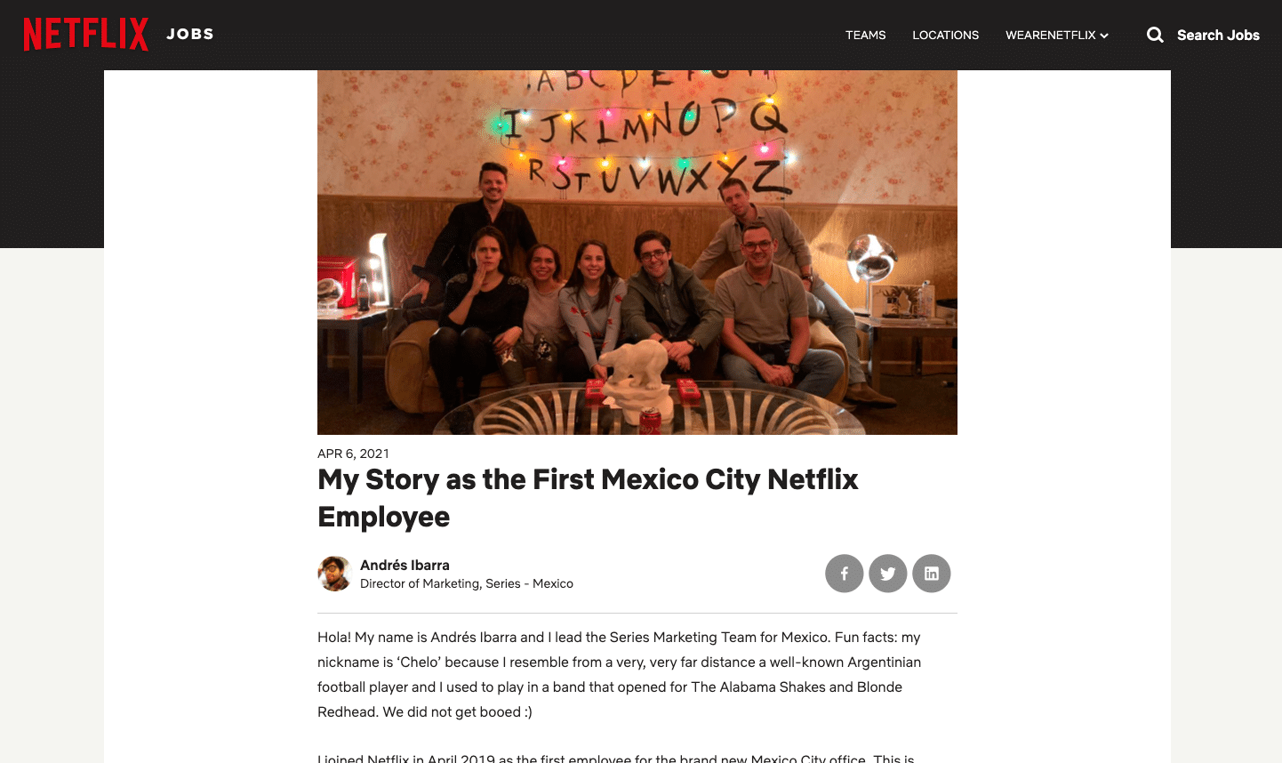 An blog post from netflix's first employee in mexico city