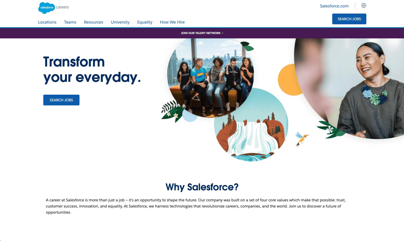 Screenshot of salesforce careers page