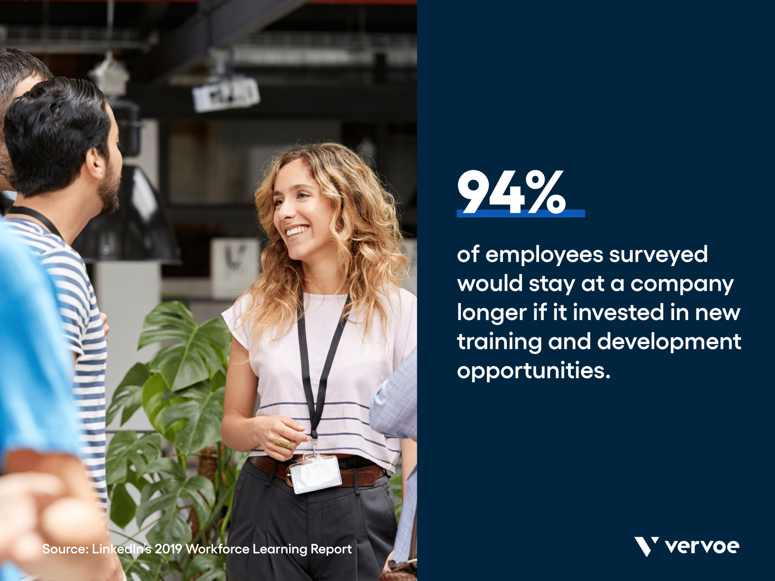 Infographic showing 94% of employees would stay longer at companies investing in new training and development