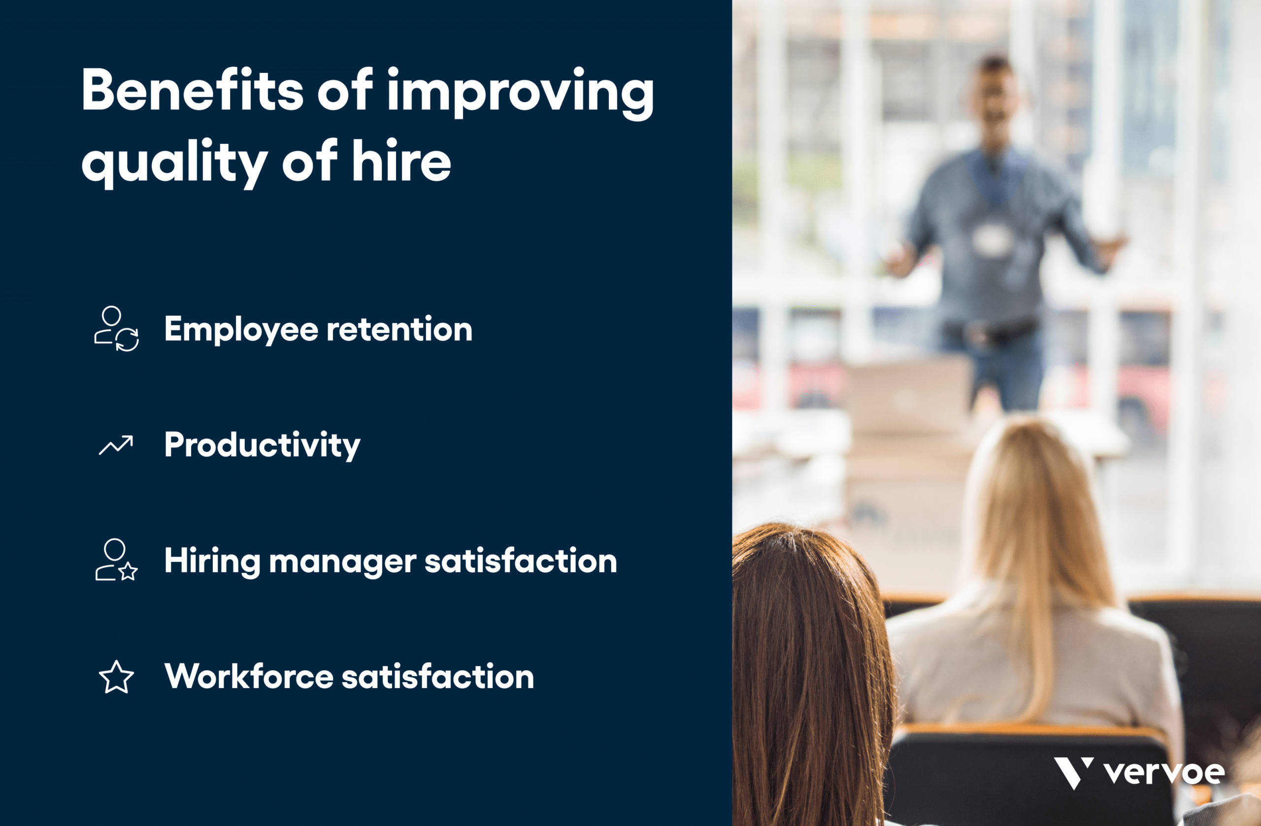 Infographic showing benefits of improving quality of hire