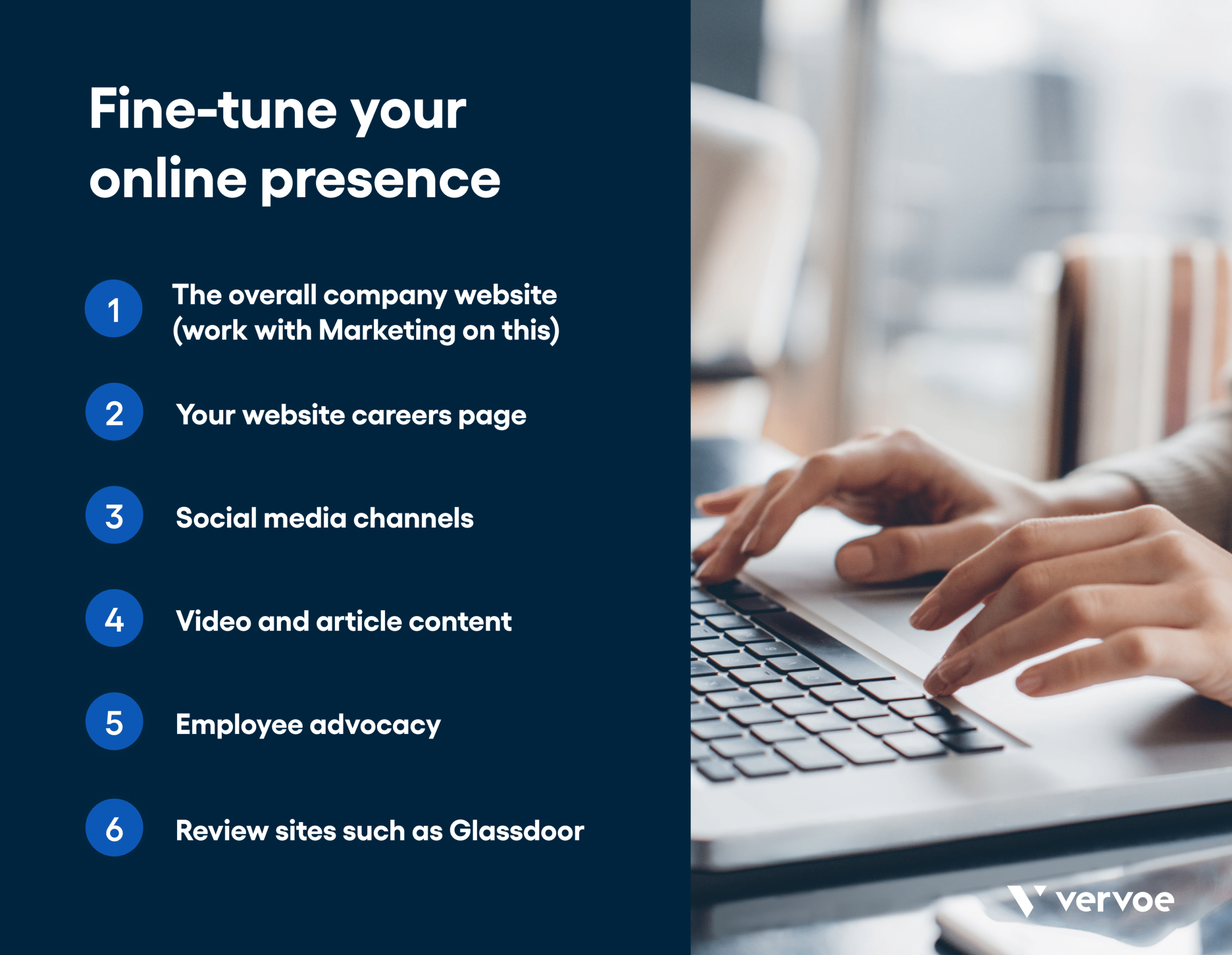 Infographic showing ways to fine-tune your online presence