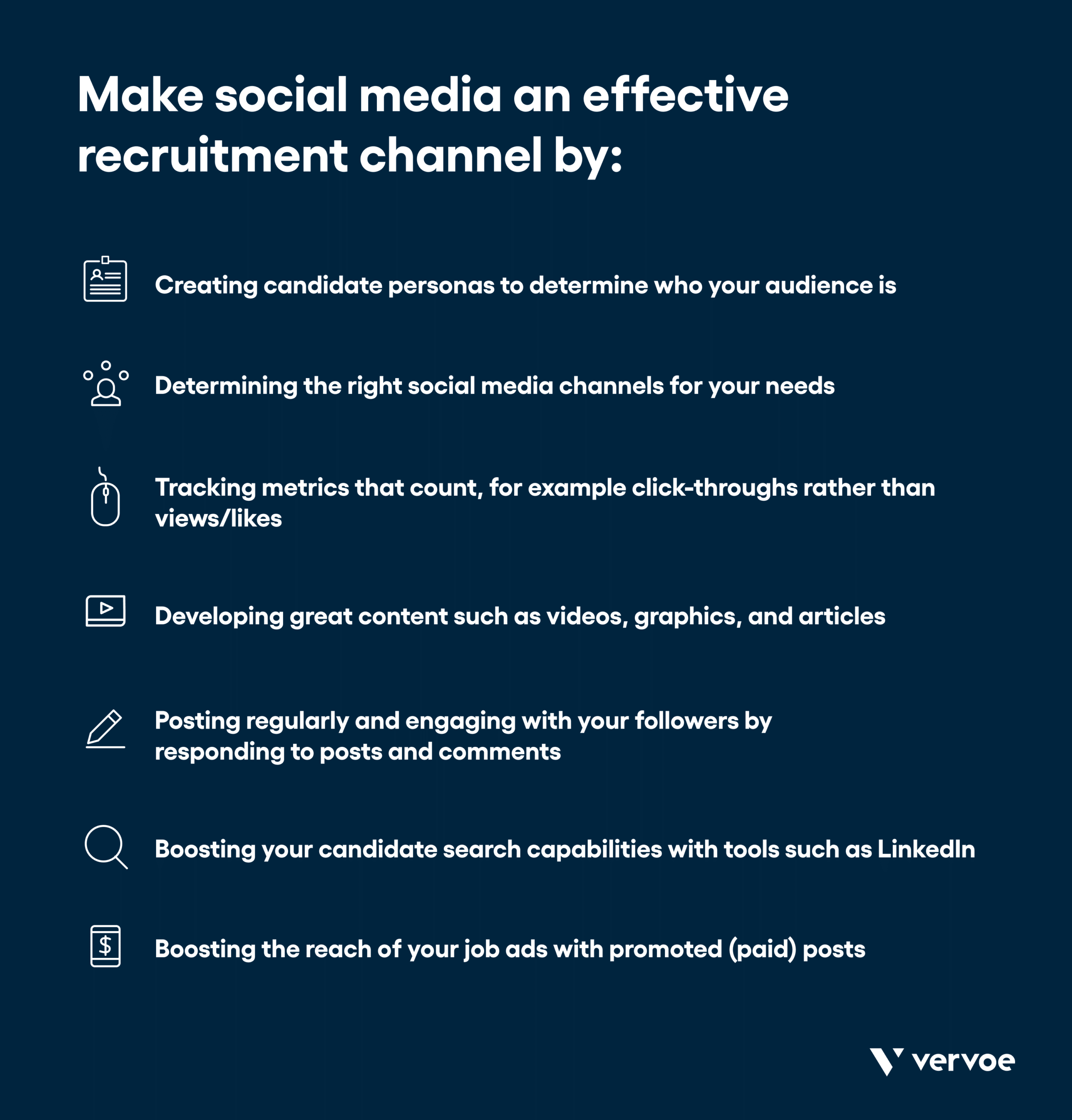 Infographic showing how to make social media an effective recruitment channel