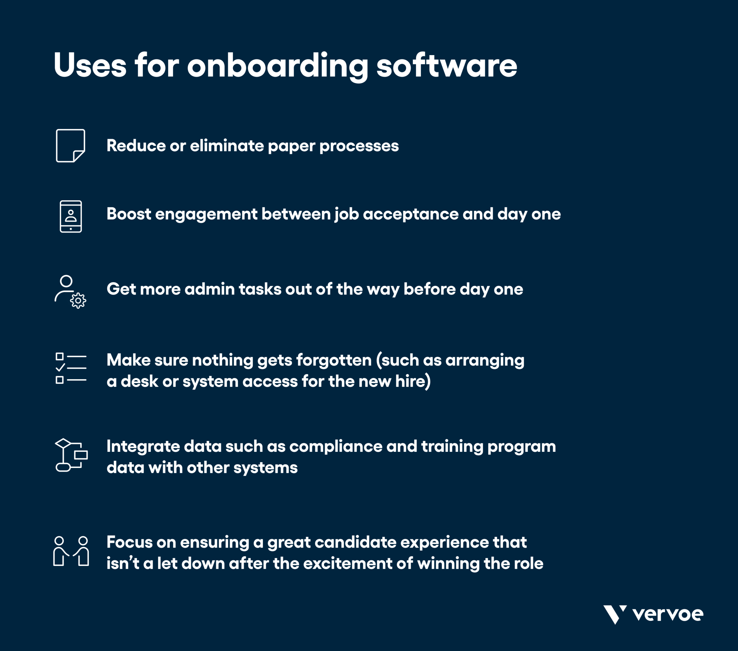 Infographic showing what onboarding software can be used for