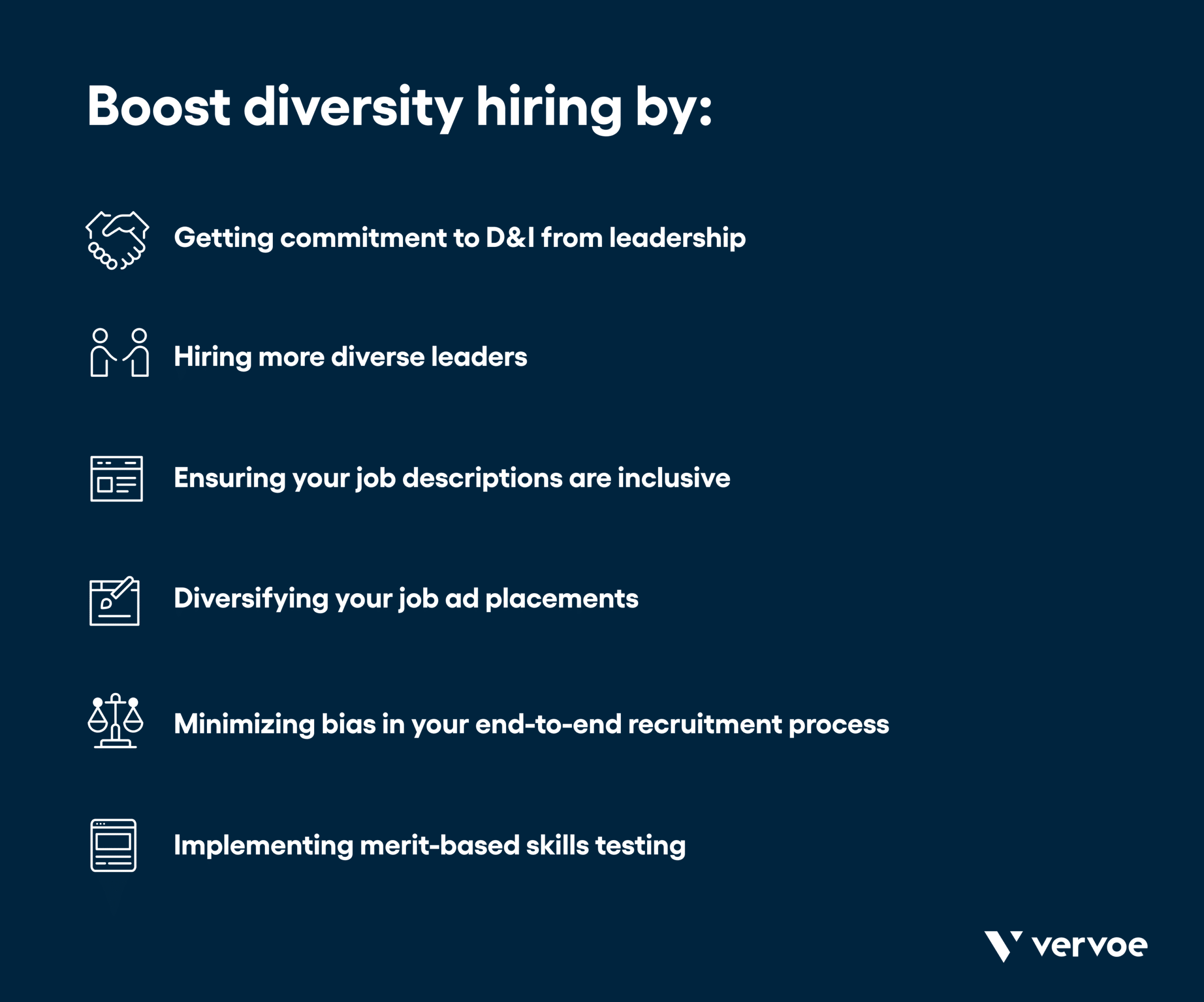 Infographic of tips for diversity hiring