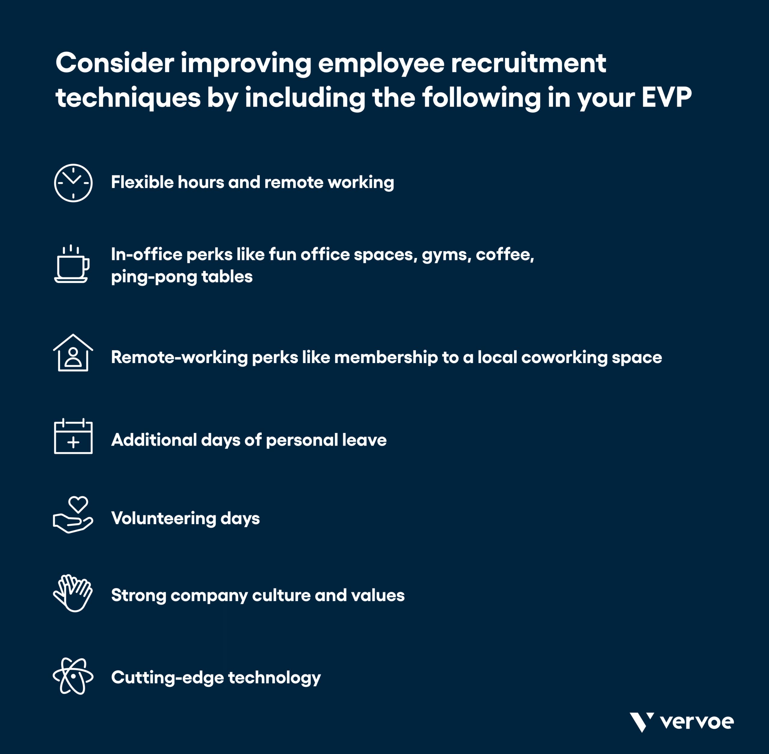 Infographic showing how to improve employee recruitment techniques