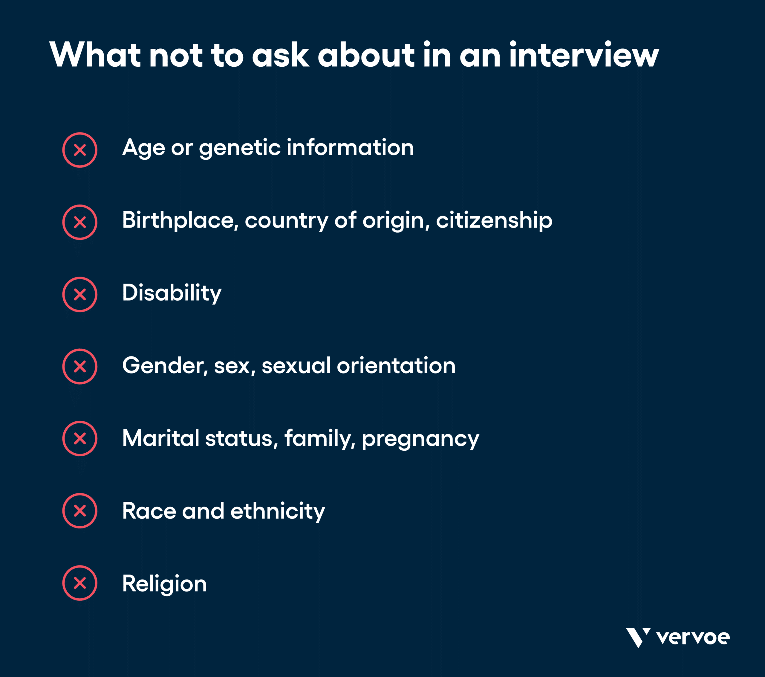Infographic showing what not to ask in an interview