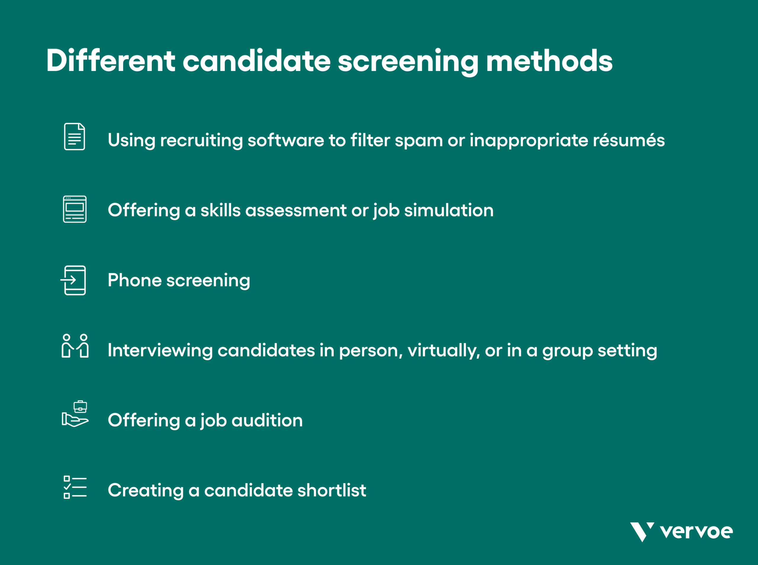 Graphic showing different candidate screening methods