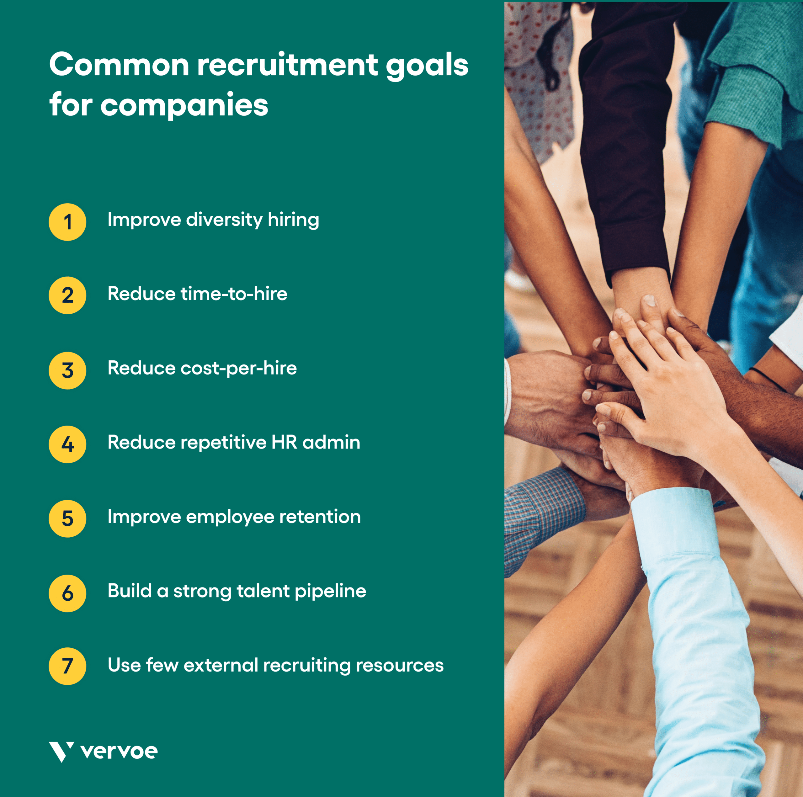 Graphic showing common recruitment goals for companies