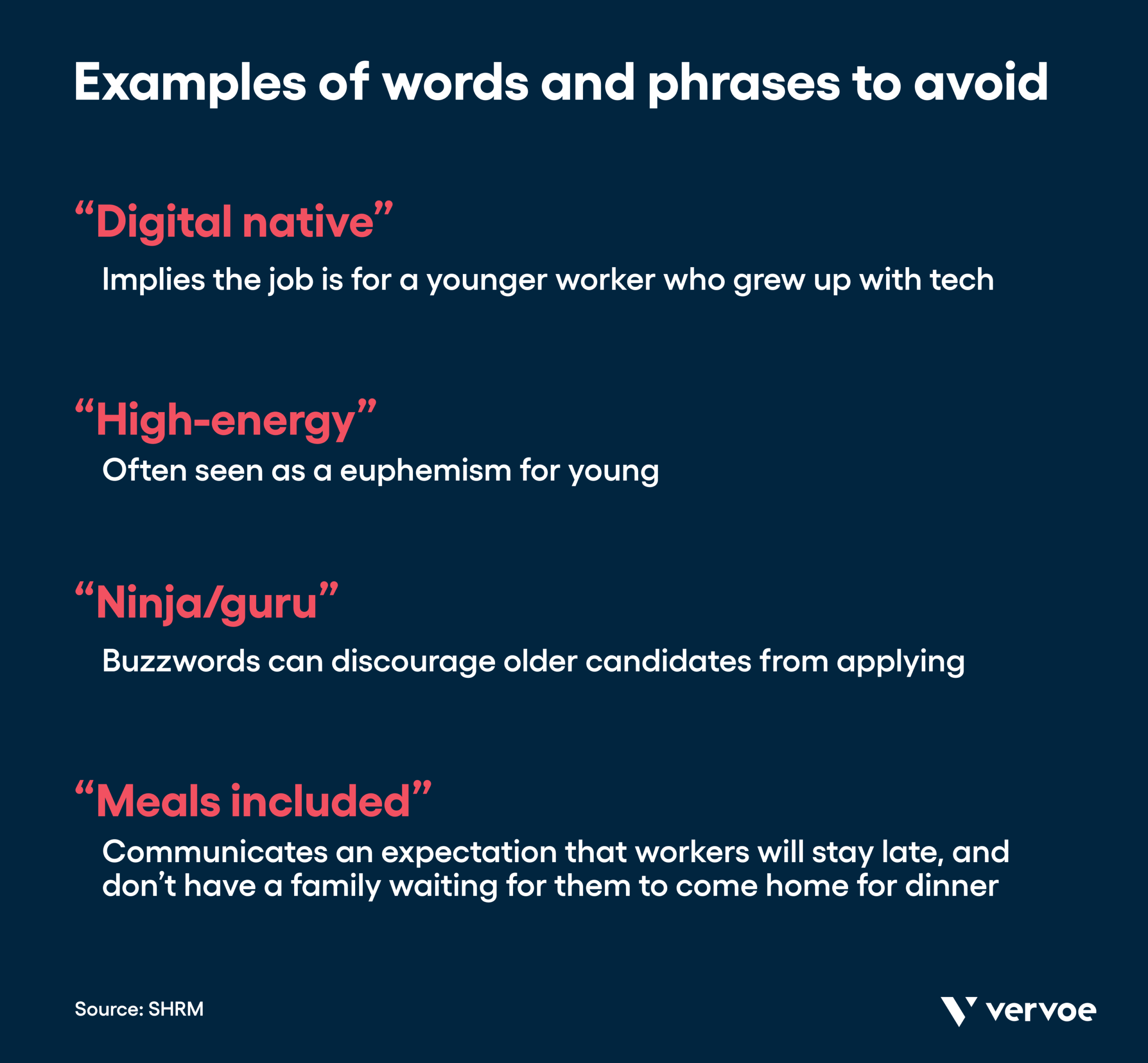 List of key words and phrases to avoid in the workplace that could be ageist